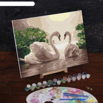 Картина по номерам на холсте лебеди на тихом пруду, 40*30 см