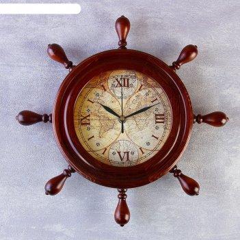 Часы деревянные штурвал карта, 34х34 см