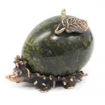 Статуэтка еж змеевик бронза
