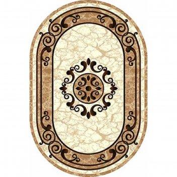 Ковёр карвинг фризе vision deluxe d045, 2*5 м, овал, cream