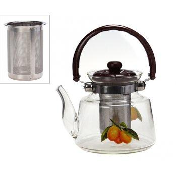 Заварочный чайник 1200 мл. с фильтром жаропрочное стекло