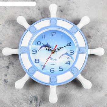 Часы настенные, серия: море, дельфины, d=15 см