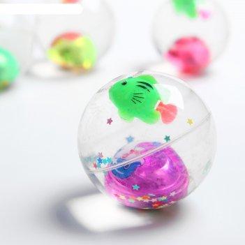 Мяч световой рыбка с водой 5.5 см, цвета микс