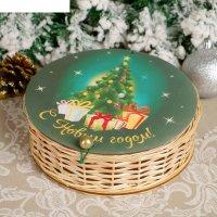 Шкатулка «новогодняя ёлочка», 21x21x6 см, ива