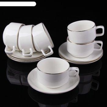 Сервиз кофейный ампела, 12 предметов: 6 чашек 200 мл 11х8,5х5,5 см, 6 блюд