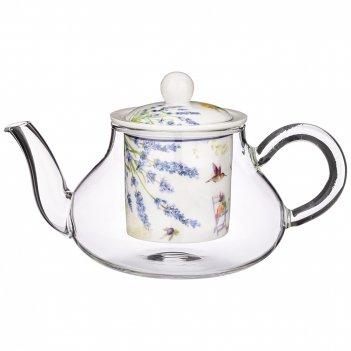 Чайник стеклянный с ситом lefard прованс лимоны 500 мл  (кор=18шт.)