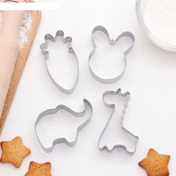 Набор форм для вырезания печенья заяц,слон,жираф,морковь, 4 шт, 6x7 см