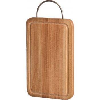 Доска разделочная деревянная с мет.ручкой  и желобом 30*20*2 см.бук (кор=1