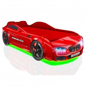 Кровать romack real x5, 1800 x 800 мм, подсветка дна и фар, цвет красный