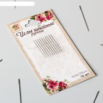 Иглы швейные, 2,8 см, d = 0,6 мм, 10 шт