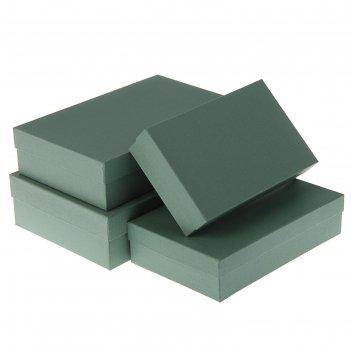 Набор коробок 4в1 серый холст, с тиснением, 30 х 20 х 8 - 24 х 14 х 5 см
