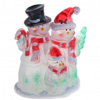 Игрушка световая семья снеговиков (батарейки в комплекте) 1 led, rgb