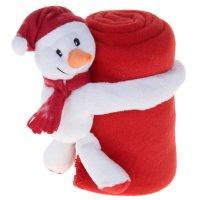 Набор подарочный этелька нг 2 пр снеговик в колпачке, плед красный 75*100