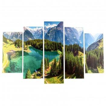 Модульная картина лесное озеро в горах (2-25х50, 2-25х67, 25х80 см) 80х140