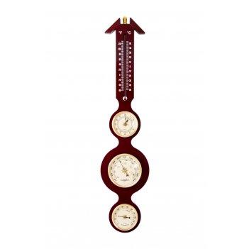 Часы-метеостанция: барометр, термометр, гигрометр 57см