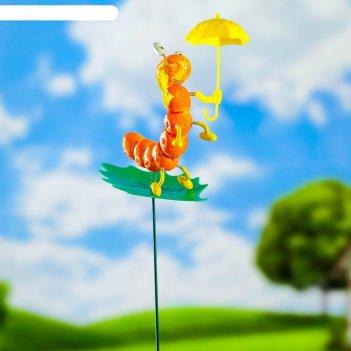 Декоративный штекер гусеница с зонтиком микс