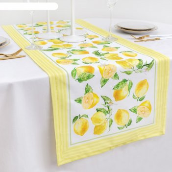 Дорожка на стол лимоны 40*146 см, 100% хл, саржа 190 гр/м2