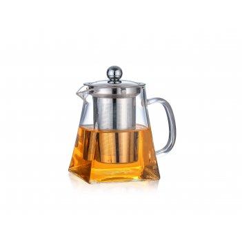 Чайник заварочный с металлической колбой (квадратный) 600 мл