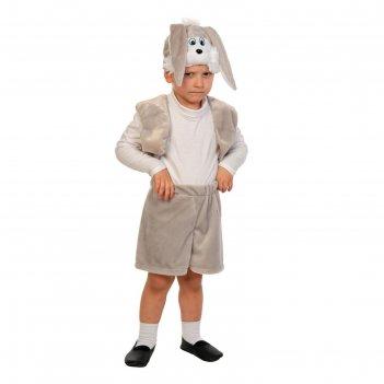 Карнавальный костюм зайчик серый, плюш-лайт, жилет, шорты с хвостиком, мас