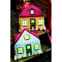 Подушка для вышивания vervaco голубой домик