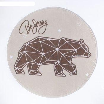 Ковер детский крошка я strong bear, d = 70см, велюр, поролон 400г/м2