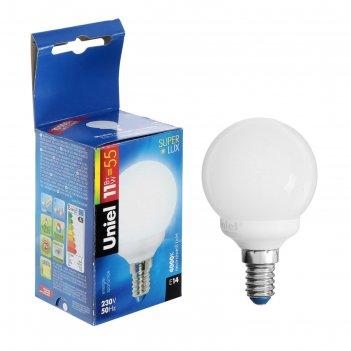Лампа энергосберегающая uniel шар g45, е27, 9 вт, 4200 к