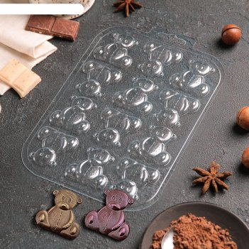 Форма для шоколада игрушечные медведи