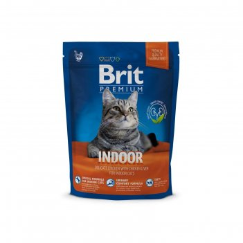 Сухой корм brit premium сat indoor для домашних кошек, курица и печень, 30
