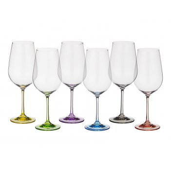 Набор бокалов для вина из 6 шт. rainbow 350 мл высота=22 см (кор=8набор.)