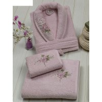 Набор женский (халат+полотенца 50х90-1 шт., 90х150-1 шт.), цвет розовый