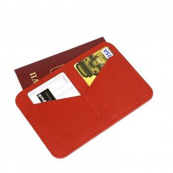 Обложка-футляр для паспорта, 2 кармана для карт, красный шора