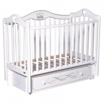 Детская кровать rouz elegance, автостенка, ящик, маятник, цвет белый