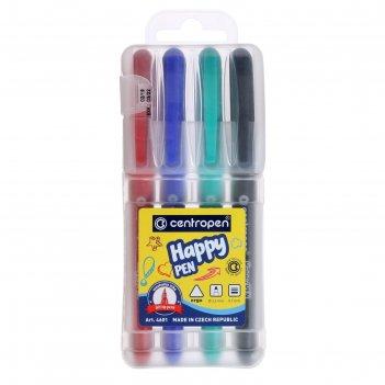Фломастеры 4цв centropen 4601/4 happy pen, 0,7 мм, пласт/уп, европодвес 54