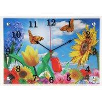 Часы настенные прямоугольные цветы и бабочки, 25х35 см