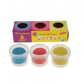 Тесто-пластилин для лепки 3цв*90г аметист тдл-3-90