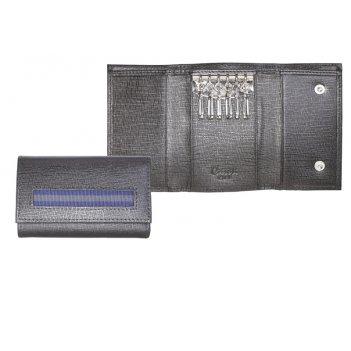 Ключница caseti, кожа тисненая черная, 10,2 х 6,5 см
