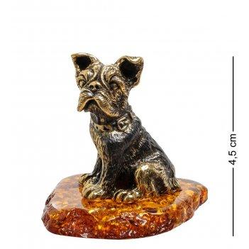 Am-1831 фигурка собака гарик (латунь, янтарь)