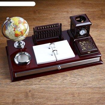 Набор настольный «античность»: глобус, часы, перекидные листы, визитница,