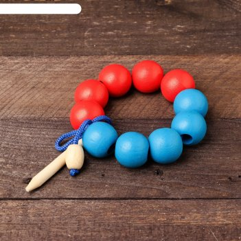 Шнуровка счёт до 10, красно-синия большая, диаметр бусины — 3 см