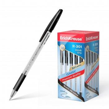 Ручка шариковая erich krause r-301 classic stick   grip, узел 1.0 мм, черн