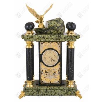 Часы каминные царь птиц (змеевик) златоуст