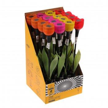 Фонарь садовый на солнечной батарее тюльпан 47 см, d-6 см, 1 led, пластик