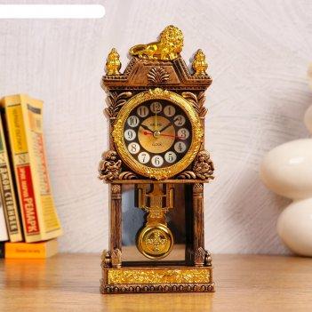 Часы с маятником настольные,  с будильником, 1 аа, дискретный ход, d=5.6 с