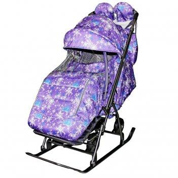 Санки-коляска snow galaxy kids-3-1 ёлки на фиолетовом на больших колесах+с