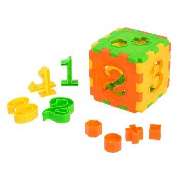 Логическая игрушка-сортер «куб», с цифрами и часами