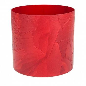 Горшок для цветов со скрытым поддоном кожа. красный 1,7л