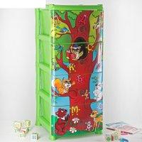 Комод для игрушек дерево знаний, 4 выдвижных ящика, цвет зелёный