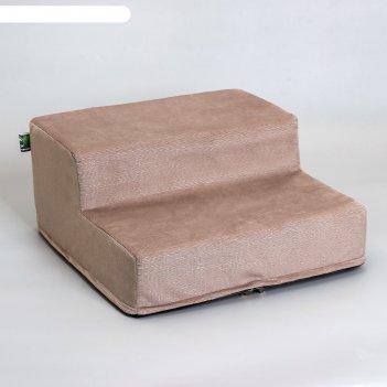 Лесенка для собак мокко, 2 ступени, мебельная ткань, 40 х 40 х 20 см