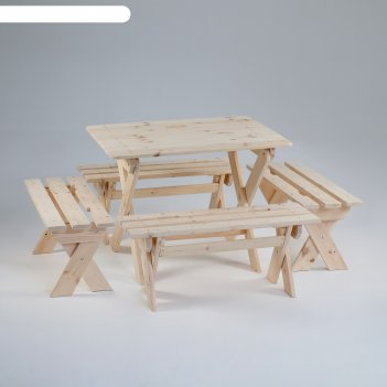 Комплект садовой мебели душевный : стол 1,2м, четыре лавки(ксл-04)