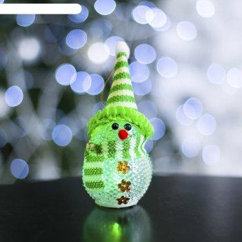 Игрушка световая снеговик, 8х5 см, зеленый, батарейки в комплекте